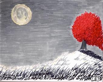 Red Tree - Giclee print on Somerset Velvet