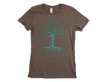 Womens Tree Design Tree Tshirt Hiking Shirt For Her