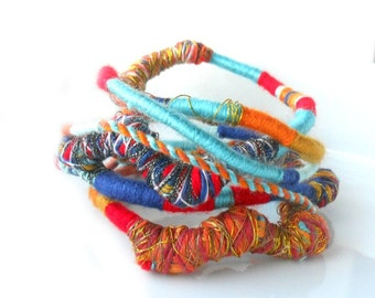 Color Block  yarn Wraps / Textile Necklace / Wearable Art / Multiple strand Bracelet  / Color block Metallic  Bohemian Necklace / Urban wrap