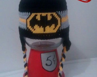 Bat hat with earflaps and plastic canvas logo