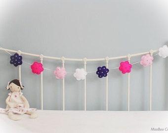 Flower Bunting - flower garland - felt flower - bunting - felt garland - nursery decor - child's decor - handmade - READY NOW