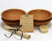 "4- 7"" Cherry Wood Bowls, Food Safe Wooden Bowl, Hand Turned Wooden Bowl, Wedding Gift, Serving Bowl, Housewarming Gift, Wooden Salad Bowl"