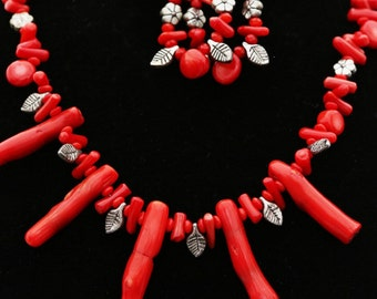 Red Coral Necklace Set