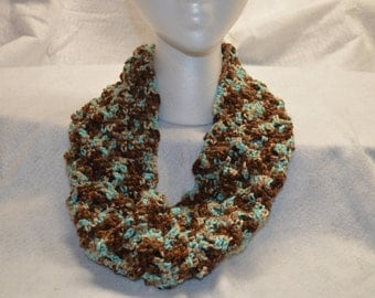 Teal and Brown Crochet Cowl