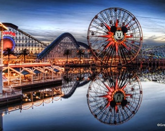 Disney California Adventure Paradise Pier Mickey's Fun Wheel, Metallic Paper  / Metal Print
