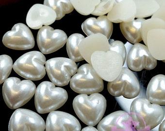 4mm DIY Art Faux Pearls Flat back Cream Heart Cabochon ~H4-01