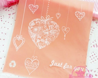 10 pcs Just For you Transparent Plastic Cookies Packing Bags ~Y181