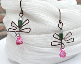 Weird Glossy Wirework Earrings | Fan Shaped | Dragon Fly Wings | Pink Drops Green Stem Silver Glitter Delicate Chunky | Girlfriend Gift