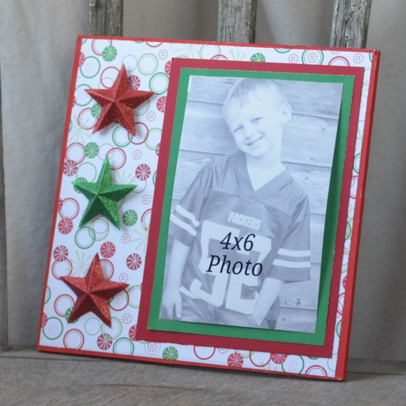 Red And Green Christmas Star 4x6 Picture Frame