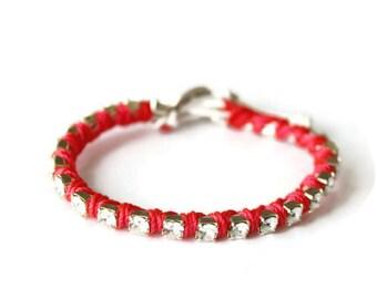 Rhinestone Wrap Bracelet in Coral