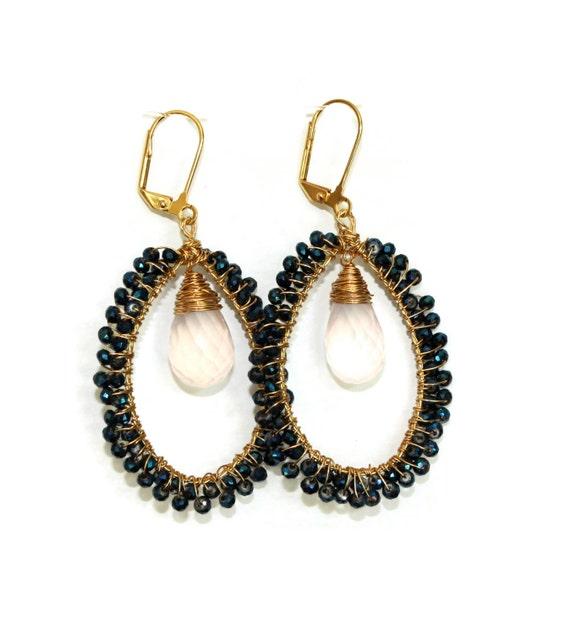 pink quartz hoop earrings beaded hoop earrings wire wrapped