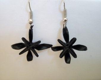 Black origami earring