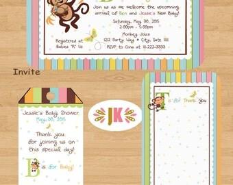 Monkey Jungle Baby Shower Printed Invitations