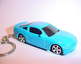 3D Ford Mustang GT custom keychain by Brian Thornton keyring key chain finished in blue color