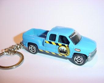 3D 1999 Chevrolet Silverado custom keychain by Brian Thornton keyring key chain finished in blue work trim
