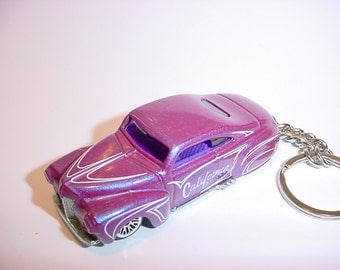 3D 1941 Ford custom keychain by Brian Thornton keyring key chain finished in purple reflective color trim diecast metal body California ride