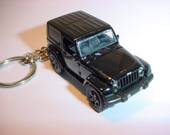3D Jeep Wrangler custom keychain by Brian Thornton keyring key chain finished in black racing trim 4x4 offroad stealth mission truck