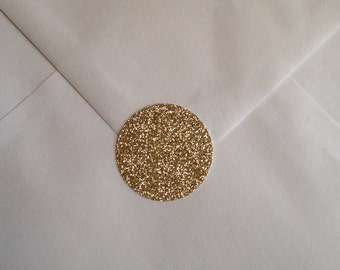 "Gold Glitter Stickers Round Circle Sticker Invitation Seals - 1"" x 25 Glitter Polka Dot Envelope Seals"