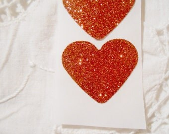 Large Ruby Red Glitter Heart Wedding Event Envelope Seals - Sweet Love Stickers x 25