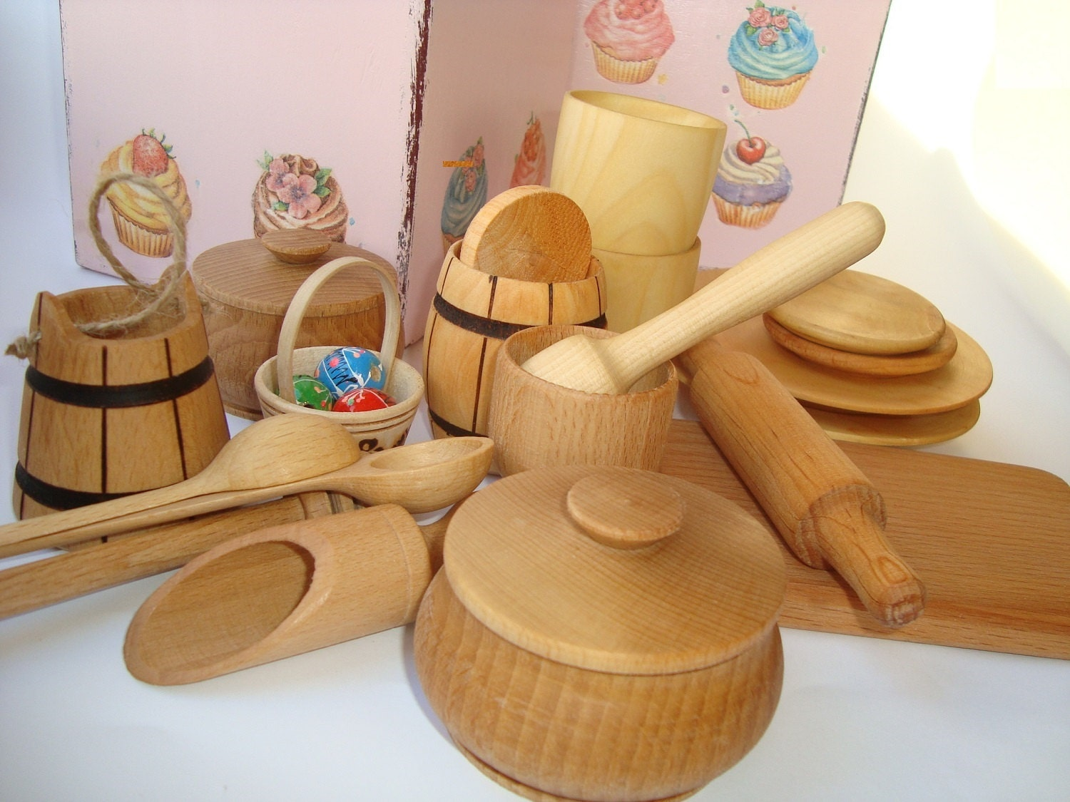 Kitchen set pcs in wood box for kids play wooden dishes
