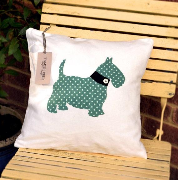 "HALF PRICE! Scottie Dog Cushion - Green polka, pink polka, blue collage, tartan , ""The Scotties of McDogg"" Collection, Tamsin Reed Designs"