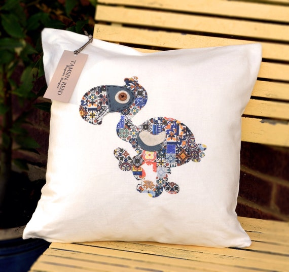 "HALF PRICE! Dodo Cushion - Blue collage/floral/pink polka/green polka,  ""The Last of the Dodo's"" Collection, Tamsin Reed Designs"