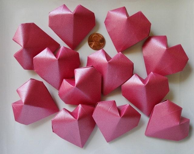 12 origami hearts 3dhandmade paper heartwedding
