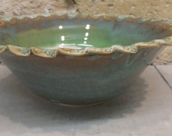 Green Blue White Serving Bowl