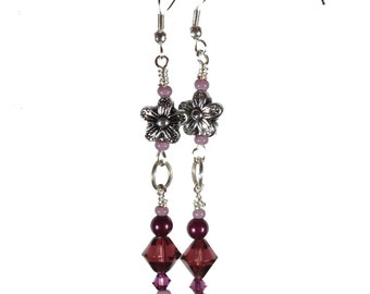 Purple flower drop hang earrings
