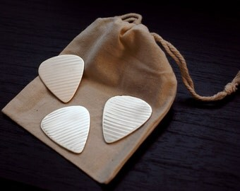 3 Pack Recycled Cymbal Guitar Picks with Pouch