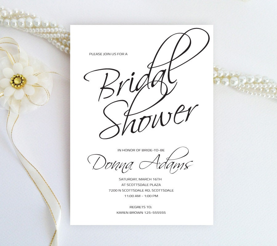 Cheap bridal shower invitations black and white by for Black and white bridal shower invitations