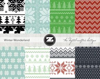 Winter Wonderland Digital Scrapbook Papers, Digital Paper Pack, Digital Paper