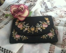 Antique French Silk Evening Clutch/Vintage French Tambour Embroidered Purse/Hand Embroidered Silk Purse/Point de Beavais Purse/French Bag