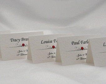 50 Personalised Place Name Cards for Weddings, Anniversaries etc
