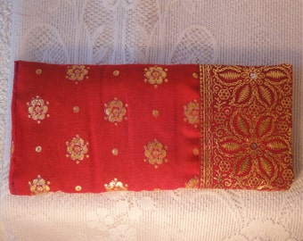 1 x YOGA EYE PILLOW  with lavender & linseed to soothe stress in red gold soft sari fabric.