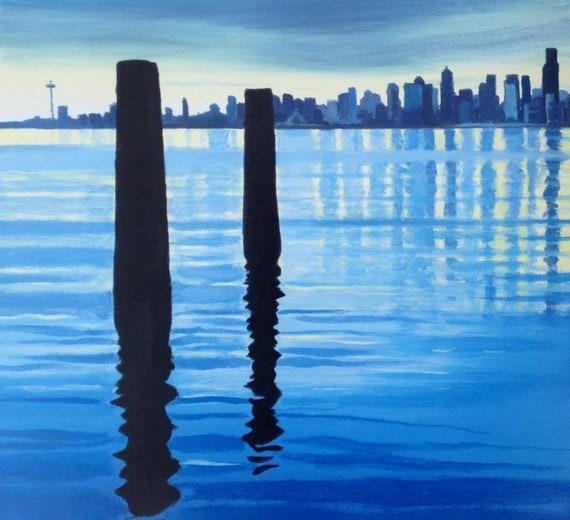 Seattle Skyline, Seattle, Seattle print, West Seattle, Seattle painting print, Puget Sound