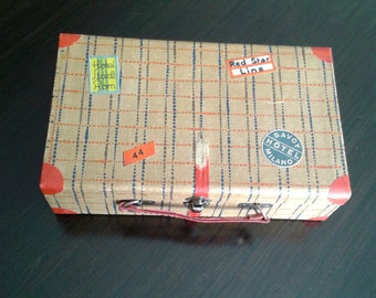 """Vintage  """" Little""""  Suitcase for Buttons and Sewing Notions Storage"""