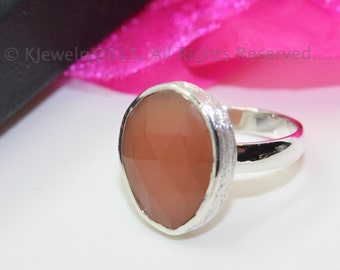 Chalcedony Ring , Sterling Silver Ring , Gemstone Ring