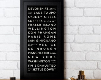 Marriage Proposal Destination Print. Tram scroll routemaster destination subway custom personalised.