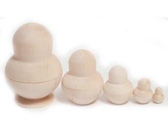 Unpainted Blank Matryoshka Nesting Doll 5 Pieces Set
