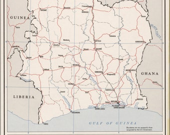 24x36 Poster; Cia Map Of The Ivory Coast 1961