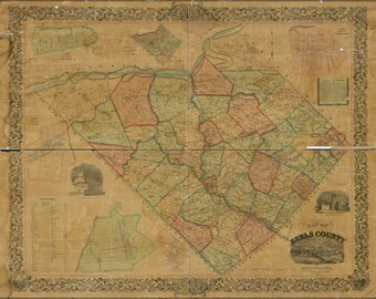 24x36 Poster; Map Of Berks County, Pennsylvania 1854