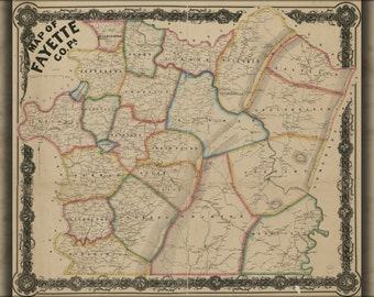 24x36 Poster; Map Of Fayette Co. Pennsylvania 1858 P1