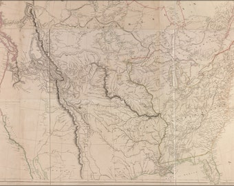 24x36 Poster; Map Of Interior Of United States Of America 1814