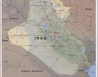 24x36 Poster; Map Of Iraq 2003 P10