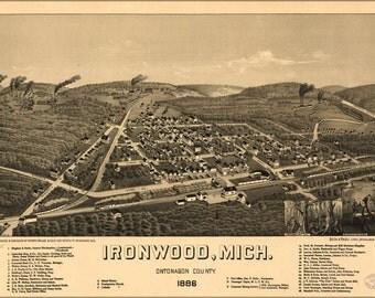 24x36 Poster; Map Of Ironwood, Michigan 1886