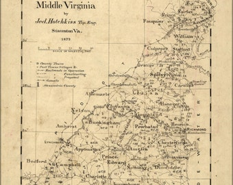 24x36 Poster; Map Of Middle Virginia 1873