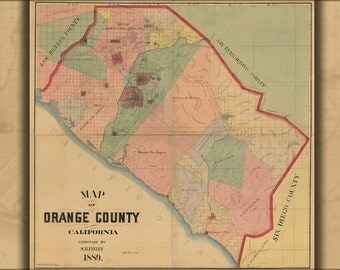 24x36 Poster; Map Of Orange County, California 1889