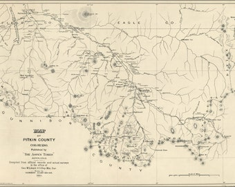 24x36 Poster; Map Of Pitkin County, Colorado 1884