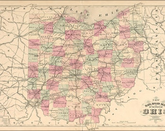 24x36 Poster; 1875 Map Of Ohio